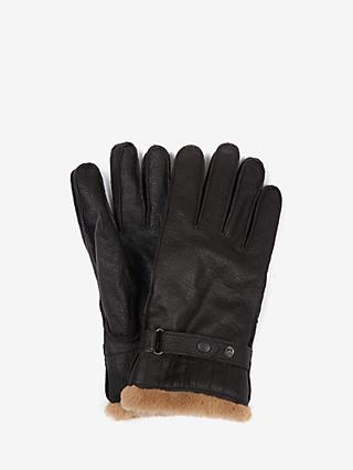 Barbour Utility Leather Gloves, Dark Brown