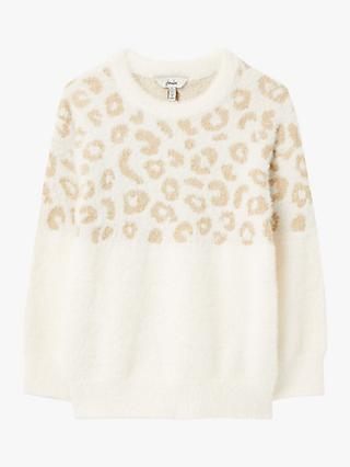 Little Joule Girls' Niamh Leopard Jumper, Gold Leopard