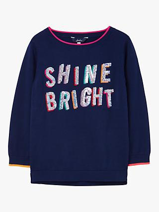 Little Joule Girls' Miranda Shine Bright Glitter Jumper, Navy/Multi