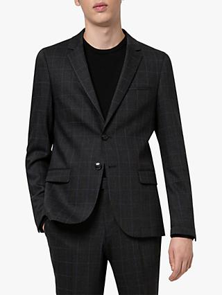 HUGO by Hugo Boss Anfred204 Prince of Wales Check Washable Suit Jacket, Charcoal
