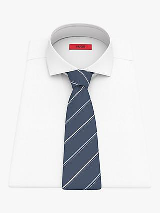 HUGO by Hugo Boss Stripe Silk Blend Tie, Medium Blue