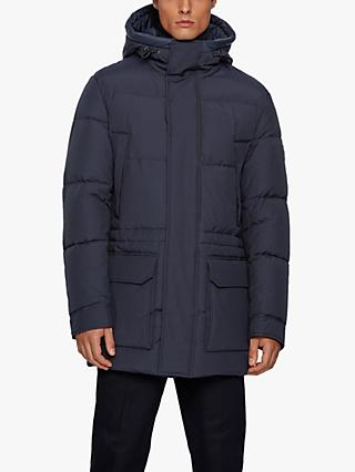 BOSS Domerlos Hooded Long Quilted Jacket, Dark Blue