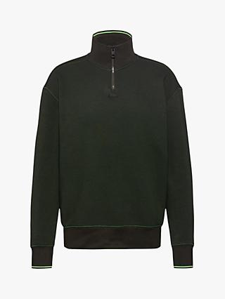 BOSS Zpitch Regular Fit Half Zip Sweatshirt, Open Green