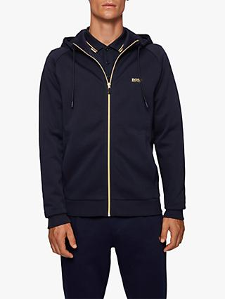 BOSS Saggy Zip-Up Hoodie, Dark Blue