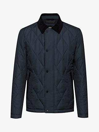BOSS Ocrunk Water Repellent Quilted Jacket, Dark Blue