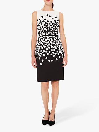 Hobbs Moira Leaf Print Dress, Black/Ivory