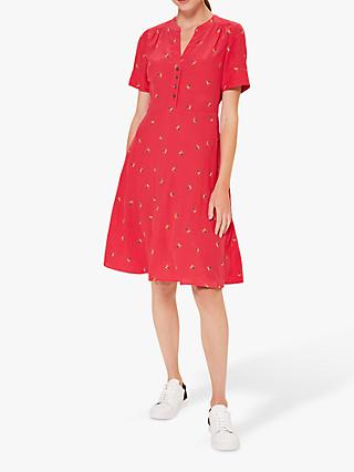 Hobbs Jayde Floral Flared Dress, Red/Multi