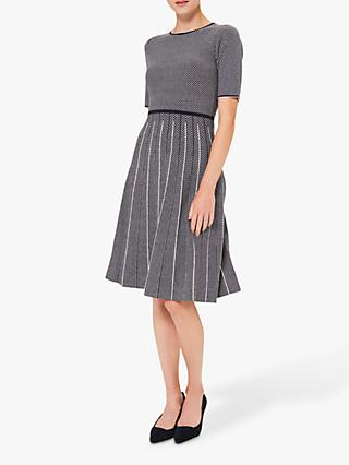 Hobbs Sophie Knitted Dress, Navy/Ivory