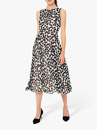 Hobbs Carly Leaf Dress, Ivory/Black