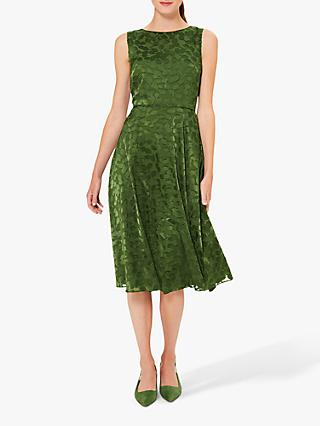 Hobbs Adeline Leaf Dress, Fern Green