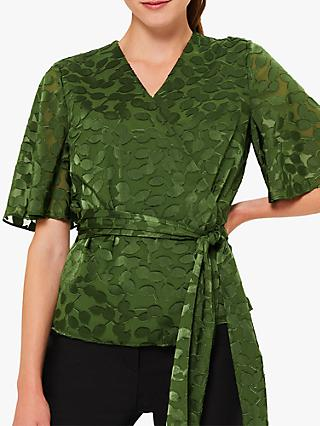 Hobbs Dorothy Wrap Blouse, Fern Green