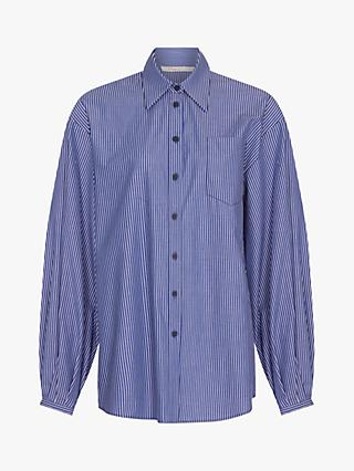 Finery Remi Stripe Cotton Boyfriend Shirt, Blue