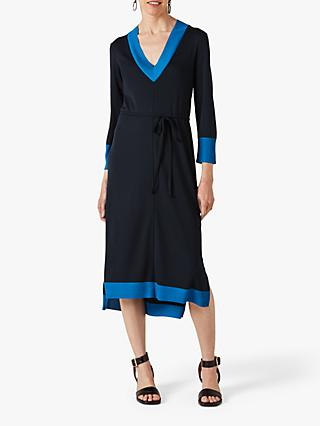 Jigsaw V-Neck Contrast Midi Dress, Navy