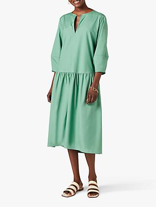Jigsaw Cotton Poplin Midi Dress, Eden Green