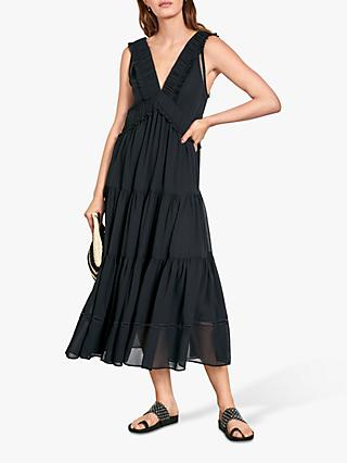 hush Rickie Tiered Dress, Black