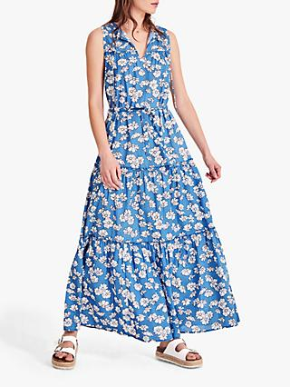 hush Bedelia Floral Print Maxi Cotton Dress, Blue