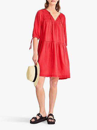 hush Odilon Tie Detail Cotton Dress, Bright Red
