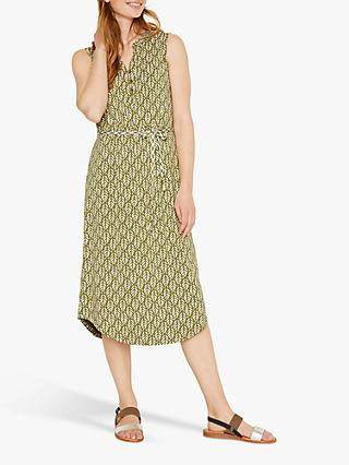 White Stuff Nigella Leaf Print Dress, Khaki