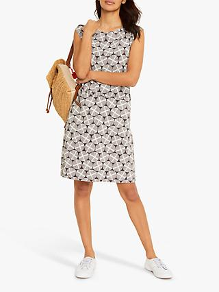 White Stuff Adriana Geometric Print Slip Cotton Dress, Charcoal/White