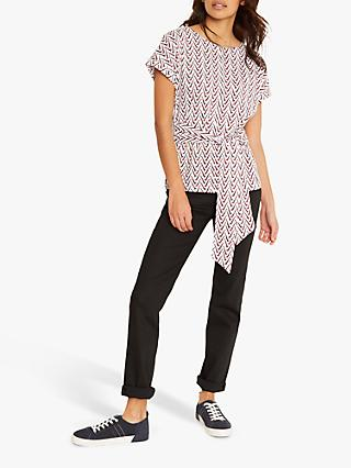 White Stuff Belted Cotton Jersey Giraffe Print Tee, Cream