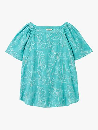 White Stuff Ebony Floral Embroidery Cotton Top, Teal