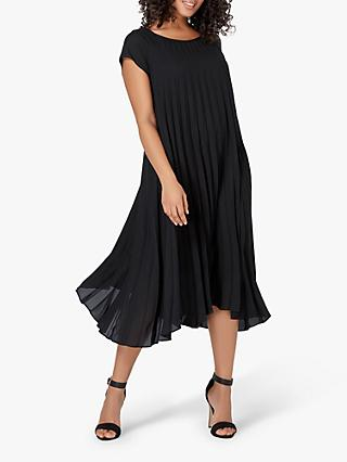 Live Unlimited Curve Pleated Shift Dress, Black