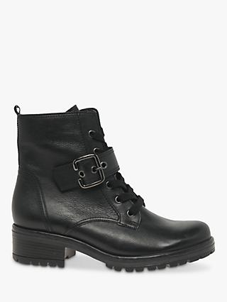 Gabor Nice Leather Buckle Biker Boots, Black