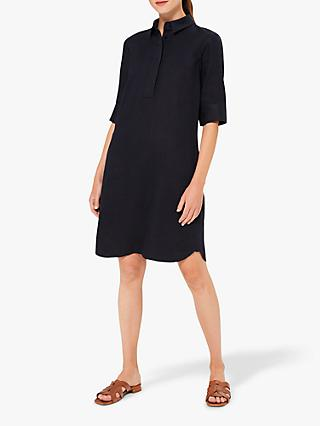 Hobbs Marciella Linen Shirt Dress, Navy