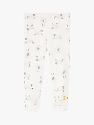 Baby Joule Little Crawlers Sheep Print Leggings, White