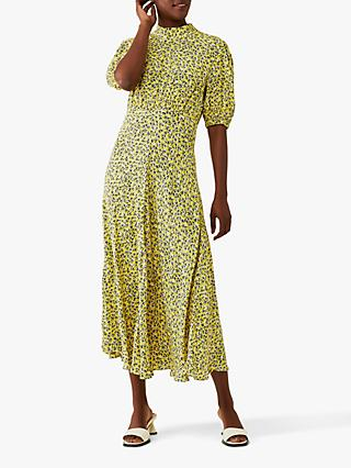 Ghost Luella Floral Print Midi Dress, Yelllow