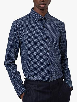 HUGO by Hugo Boss Kenno Abstract Print Slim Fit Shirt, Navy