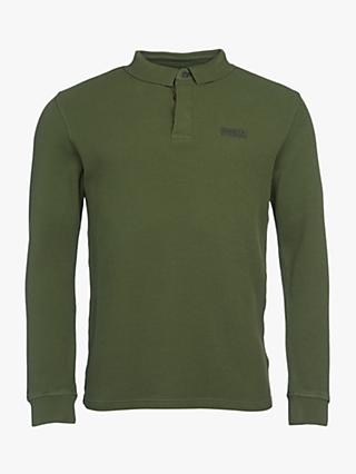 Barbour International Honeycomb Pique Long Sleeved Polo Top, Strong Olive