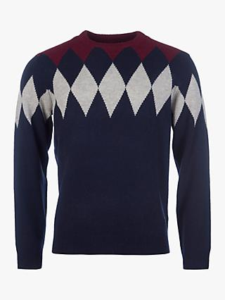 Barbour Diamond Argyle Knit Crew Neck Jumper, Navy/Multi