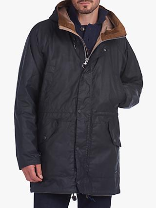 Barbour Fogle Wilderness Scarfell Waxed Cotton Parka Jacket, Navy