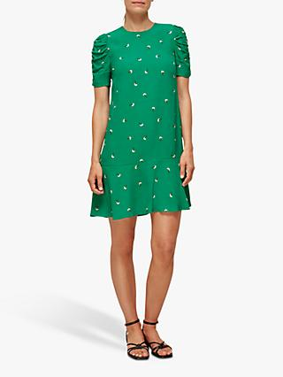 Whistles Romantic Floral Print Mini Dress, Green