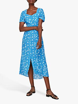 Whistles Beach Print Silk Midi Dress, Blue/White