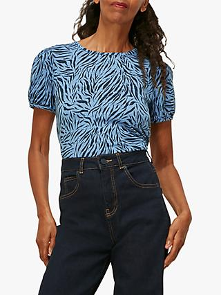 Whistles Zebra Stripes Puff Sleeve Shell Top, Blue