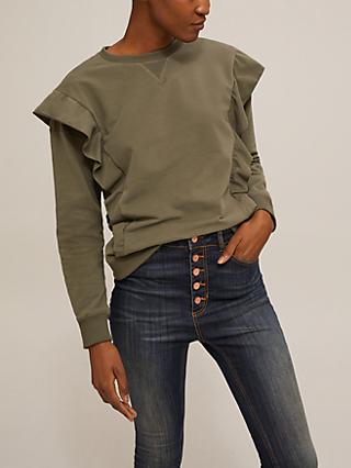 AND/OR Leanne Ruffle Sweatshirt, Khaki