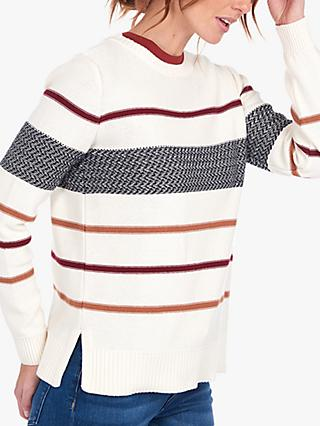 Barbour Paddle Knit Striped Jumper, White/Multi
