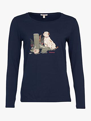 Barbour Hedley Dog and Wellies Graphic Print Top, Blue