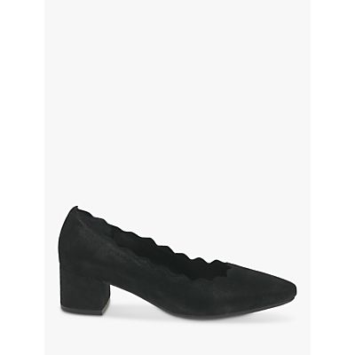 gabor dent wide fit suede court shoes, black