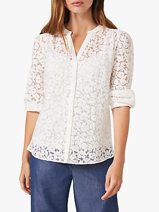Phase Eight Burnout Floral Print Blouse, Ivory