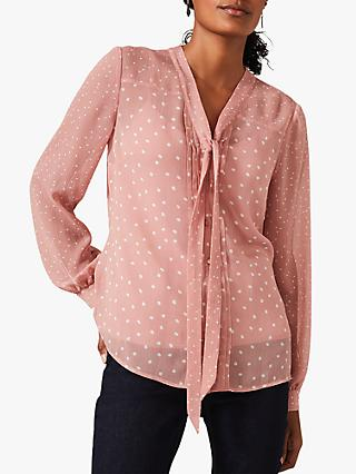 Phase Eight Eleanor Spot Print Blouse, Nude