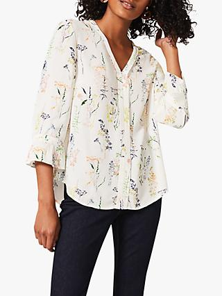Phase Eight Katie Meadow Sprig Print Blouse, Ivory/Multi