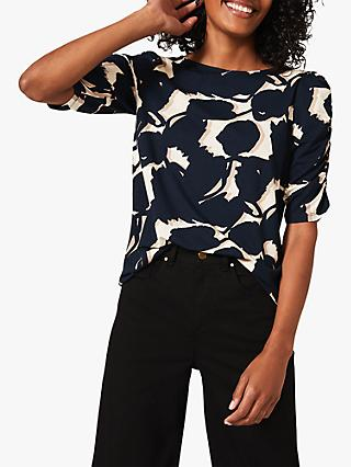 Phase Eight Naava Abstract Print Ruched Sleeve Top, Navy