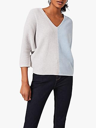 Phase Eight Carla Colour Block V-Neck Top, Pale Blue/Grey