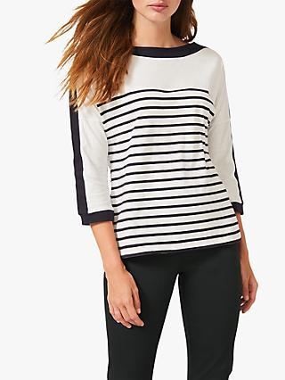 Phase Eight Belle Striped Cotton Top, Ivory