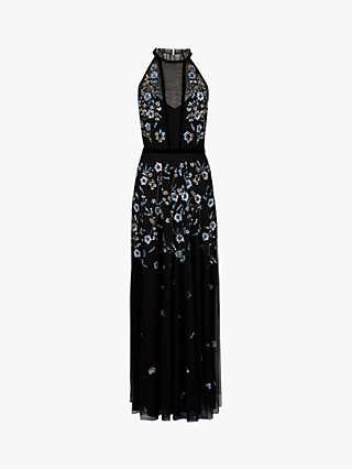 Monsoon Antonia Floral Print Sleeveless Dress, Black/Multi