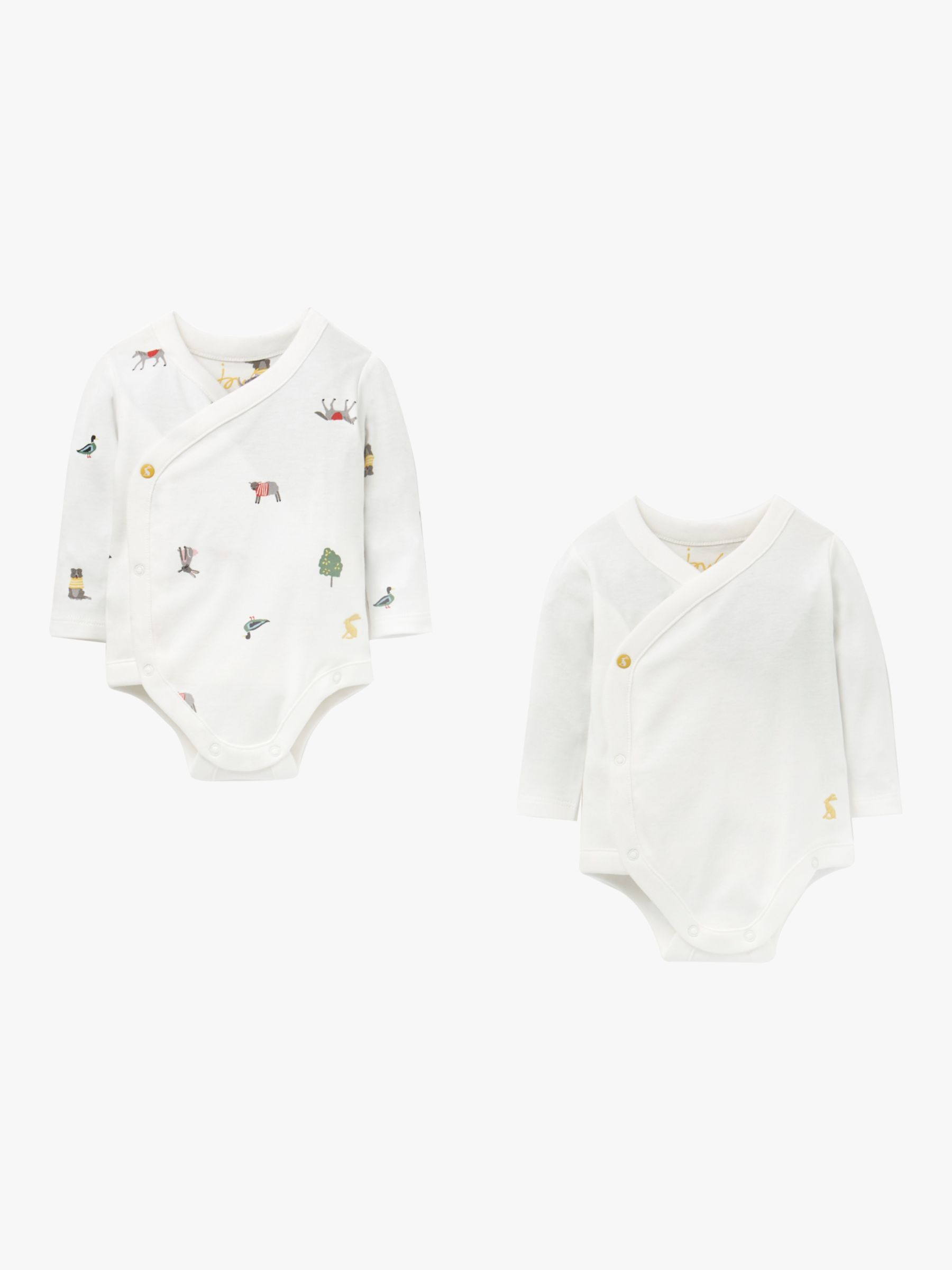 Baby Joule Organic Cotton Kimono Bodysuit, Pack of 7, White at