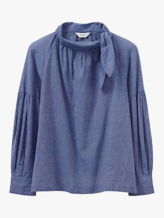 Toast Tie Neck Shirt, Blue Chambray